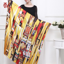 Elegant shape women printed scarves shawls stain square silk scarf