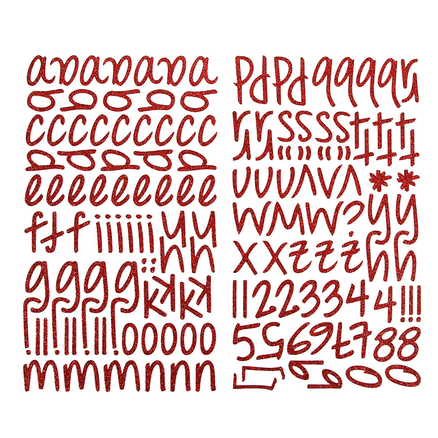 Darice 1219 55 159 piece glitter alphabet sticker lower case letters and numbers