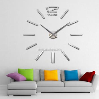 Home Goods Wall Clocks silver color mirror wall clock luxury home decorative 3d eva