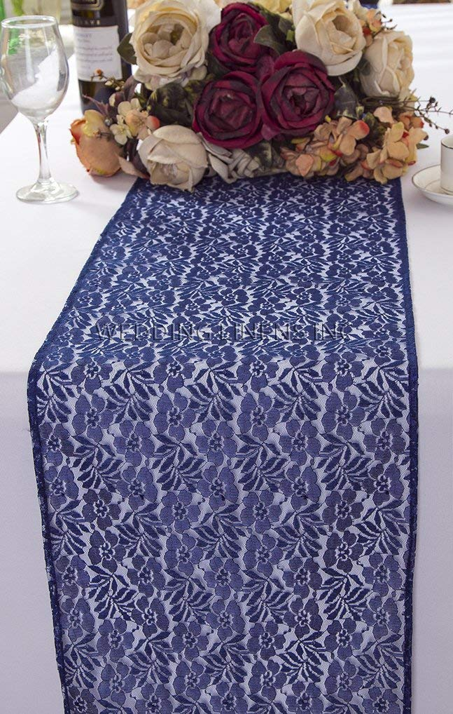 Wedding Linens Inc. Wholesale 12 in x 108 in Floral Raschel Lace Table Runner Wedding Table Runner for Wedding Décor Events Banquet Party Supplies - Navy Blue
