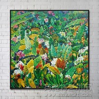 Botanical Modern Abstract Handmade Oil Painting for Wall Art