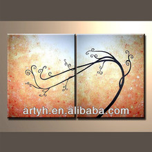 100% Handmade 2 pieces wall art of abstract group oil painting