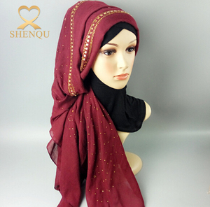 Wholesale long plain solid color scarf muslim fashion hijab with rhinestone