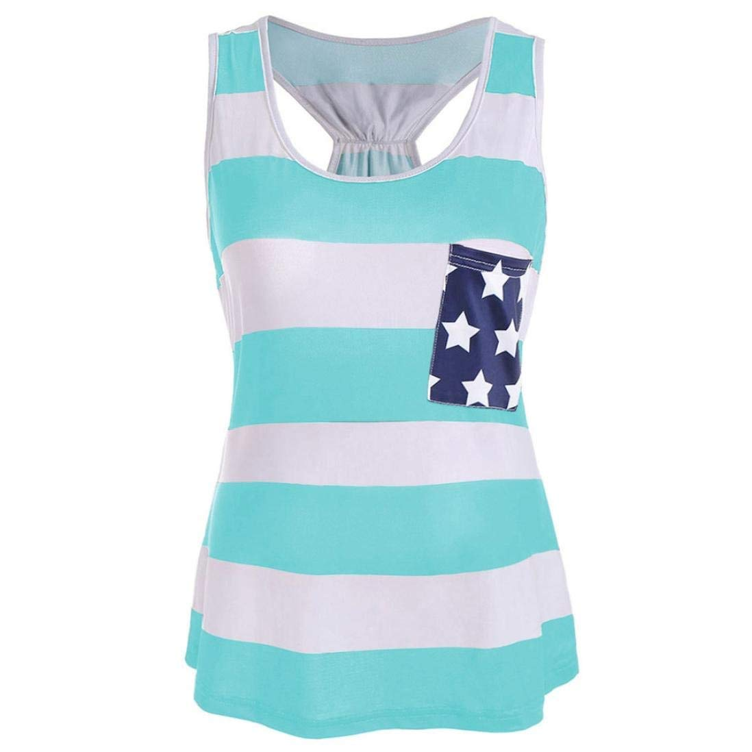 bc4adf1403bb34 Get Quotations · BowKnot Pocket Vintage American Flag Tank Top for Women  Juniors July 4th Racerback Vest Casual Sleeveless