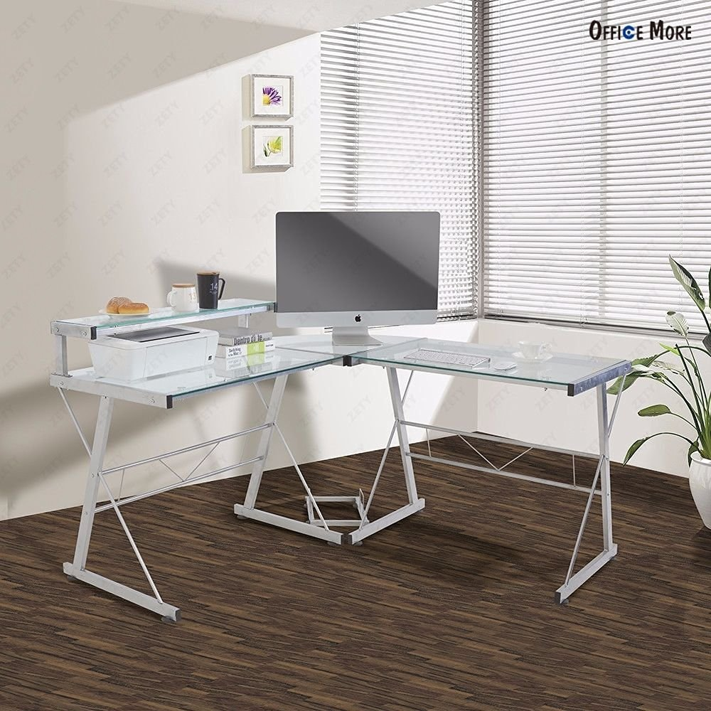 Get Quotations · Wakrays L Shape Corner Modern Computer Desk PC Glass  Laptop Table Workstation Home Office Glass