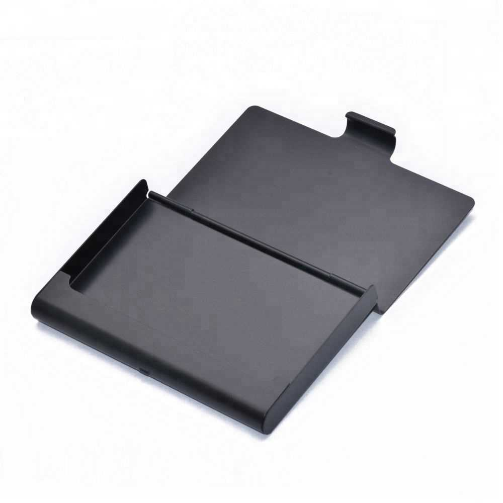 Low price stylish simple mini pure black embossed logo business card case