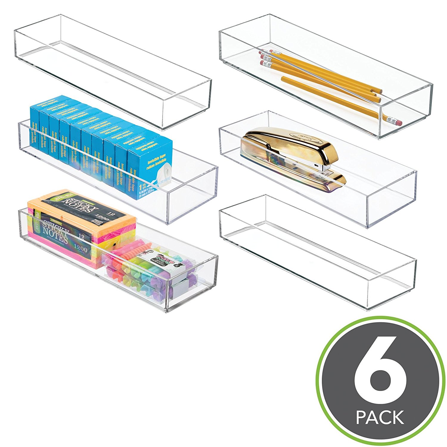 """mDesign Stackable Office Desk Drawer Organizer: Storage Bins for Gel Pens, Pencils, Staplers, Tape, Erasers - 4"""" x 12"""" - Pack of 6, Clear"""