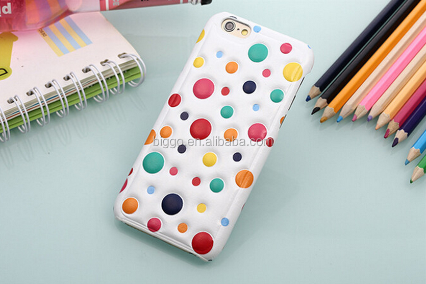 New polka dots Design 4.7 Inch for iphone 6 Case Soft leather Cover Case 3D Cartoon fashionable Phone Case Back Covers