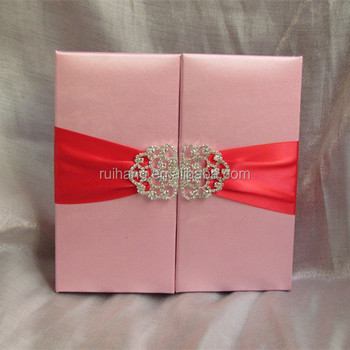 Lovely Pink Silk Luxury Handmade Birthday Invitation Car With - Birthday invitation cards luxury