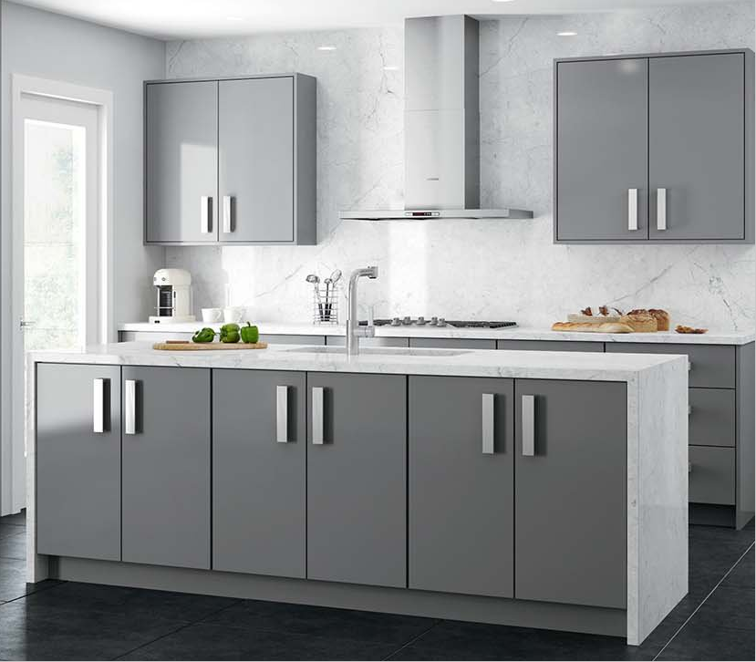 Plywood Grey High Gloss Plain Lacquer Modern Kitchen ...