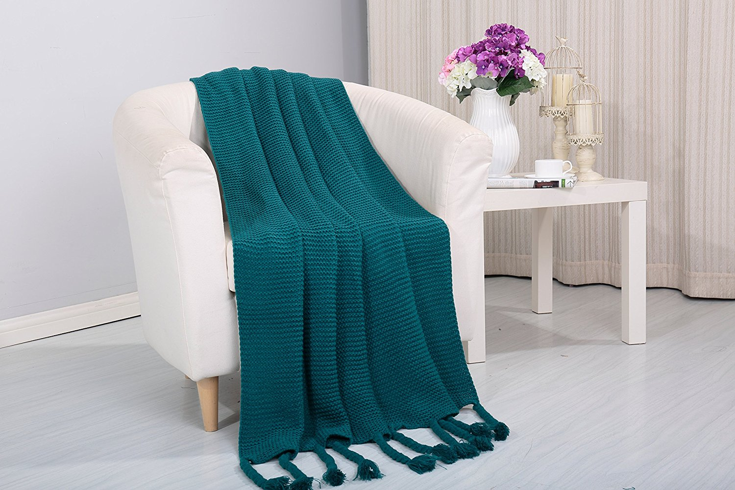 Get Quotations · Camilla Knitted Throw Couch Cover Sofa Blanket, 50x60, Teal
