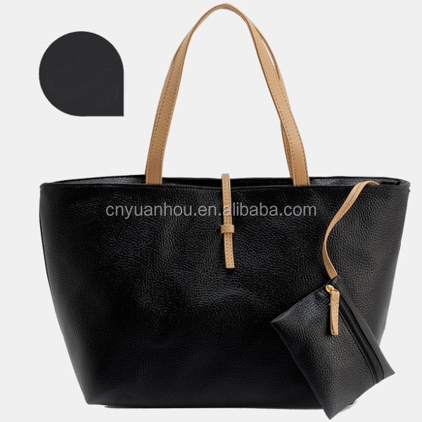 China Manufacturer fashion women black pu handbag girls many colors pu tote handbag