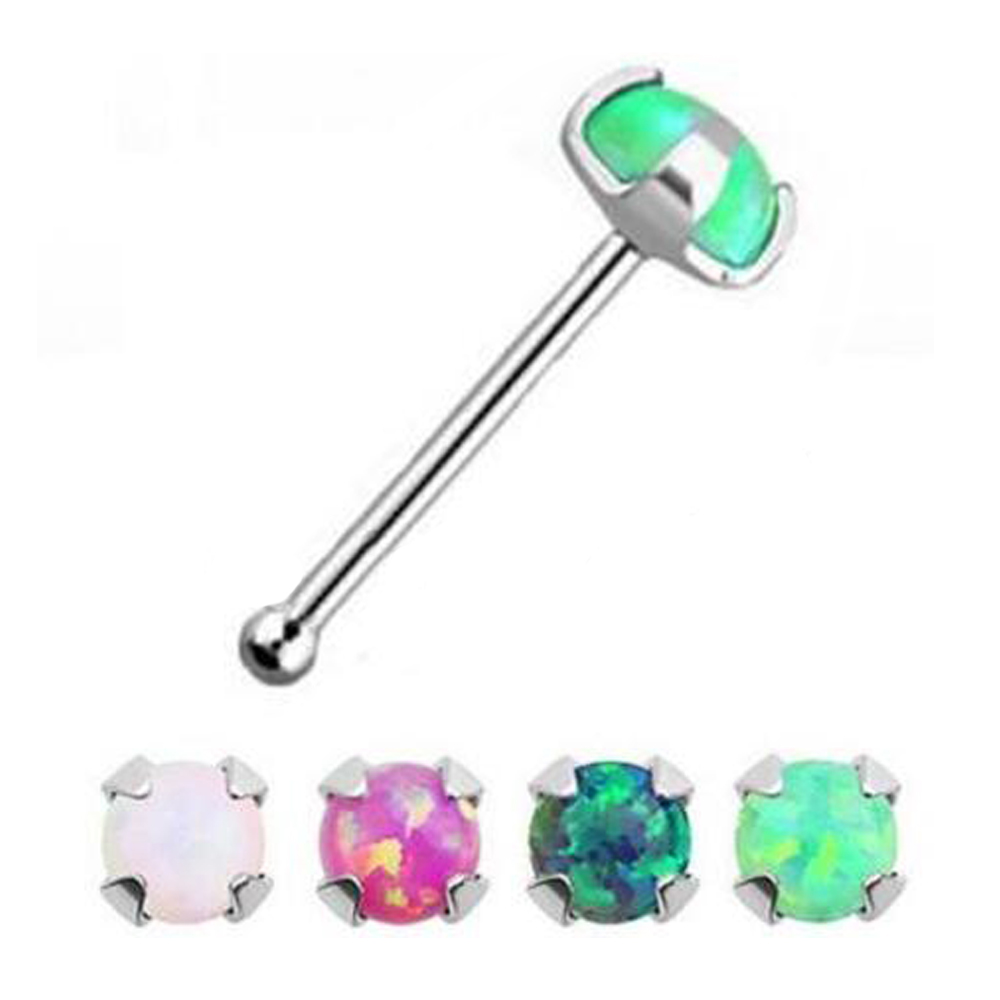 Surgical Steel Nose Bone Stud Prong Set Synthetic Fire Opal