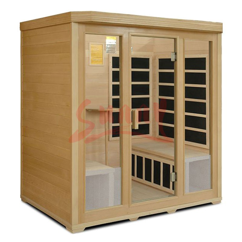 Carbon Dry Sauna Infrared Sauna Cabin, Hemlock And Full Spectrum For 4 Person