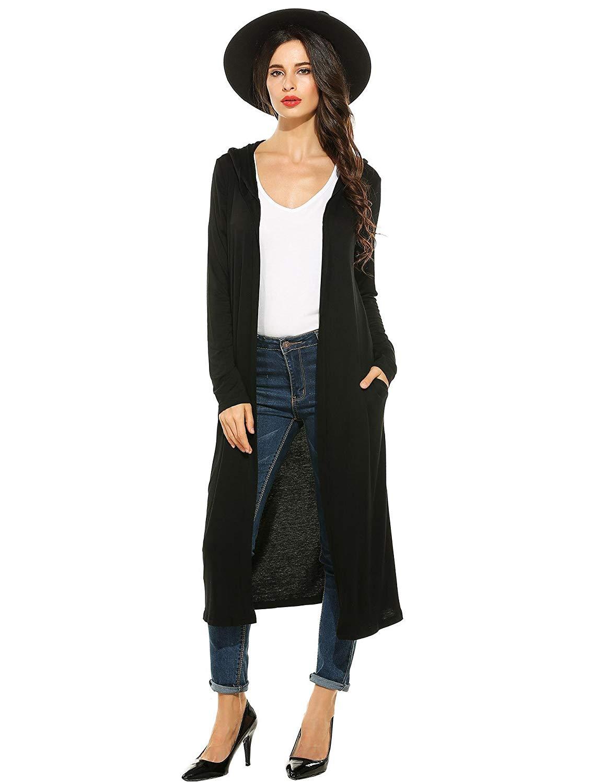 336dd3768ac993 Get Quotations · bulges Maxi Cardigan Coat Long Sleeve Casual Tunic Blouse  Waterfall Cardigan Sweater US 6-12