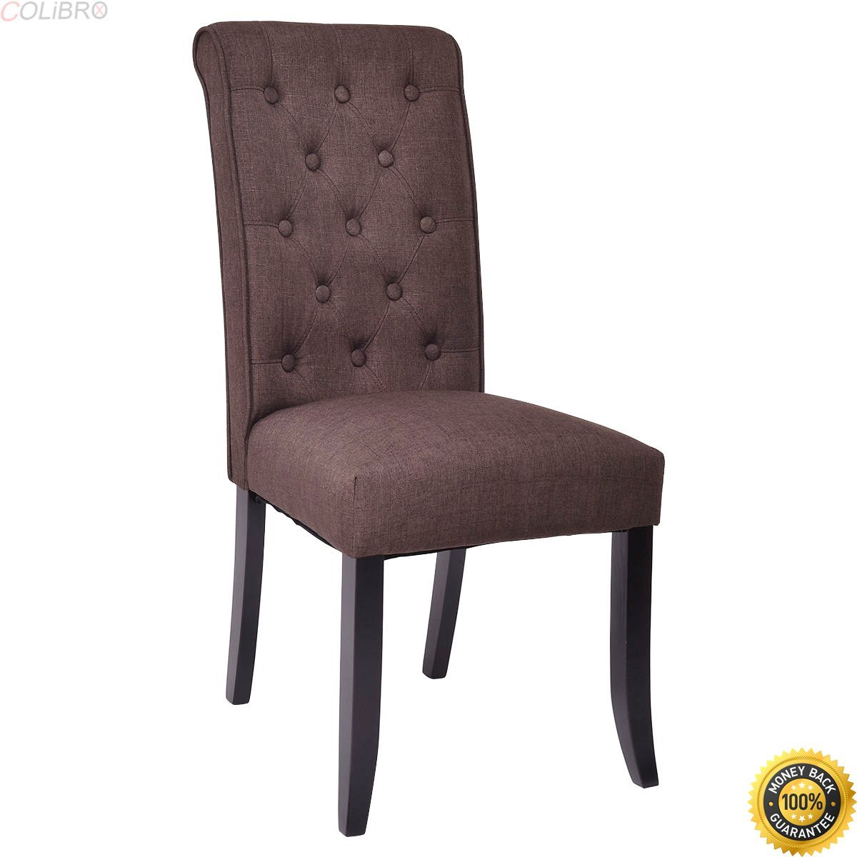 Get quotations · colibrox set of 2 dining chairs fabric upholstered tufted armless accent home kitchen new