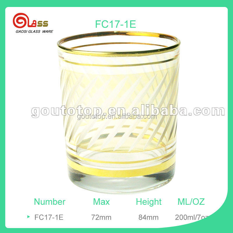 7oz gold drinking glass candle glass Glassware 200ml FC17-1E round drinking glass