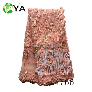 embroidery on velvet fabric laces for velvet 4766 Most Fashionable high quality organza net lace with flowers