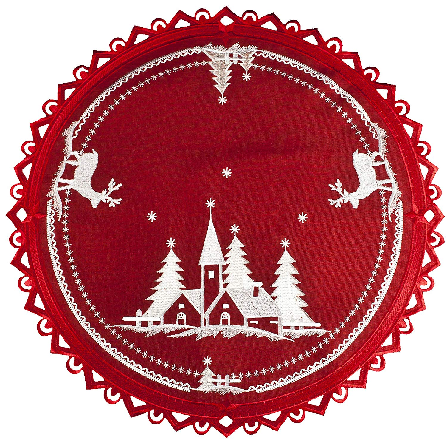 """Christmas Embroidered White Church and Deer on Red 24"""" Round Doily Place Mat Small Table Topper"""