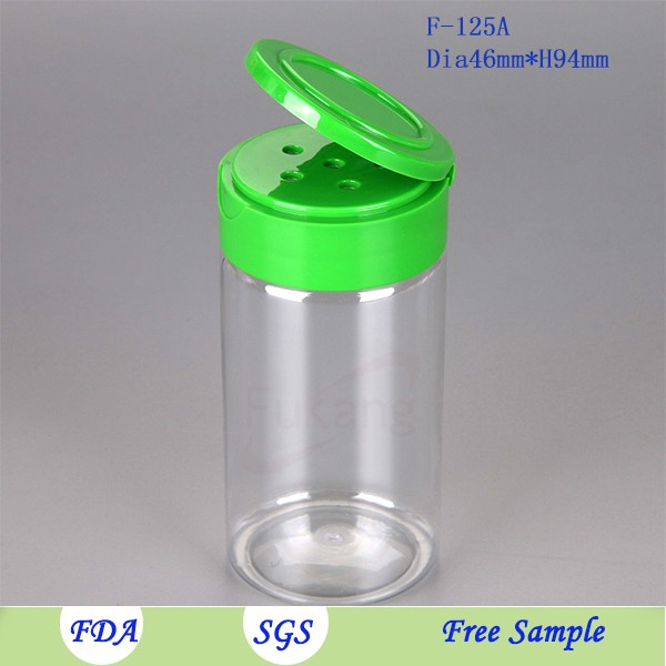 wholesale 4oz plastic sea salt shakers plastic bottles spice jar 125ml pet kitchen spice jar with sifter cap