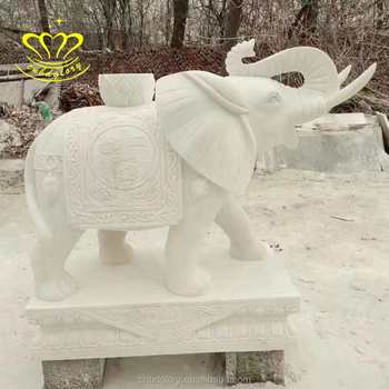 Stone Garden New Product Hand Carving Marble Animal Elephant Sculpture