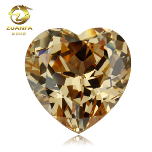 Machine Cut CZ Stone Champagne Color 8x8 Heart shape Cubic Zirconia Stone