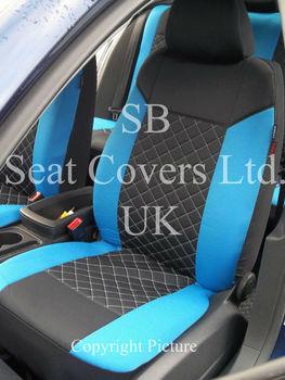 Blue Diamond Stitch Car Seat Covers Full Set