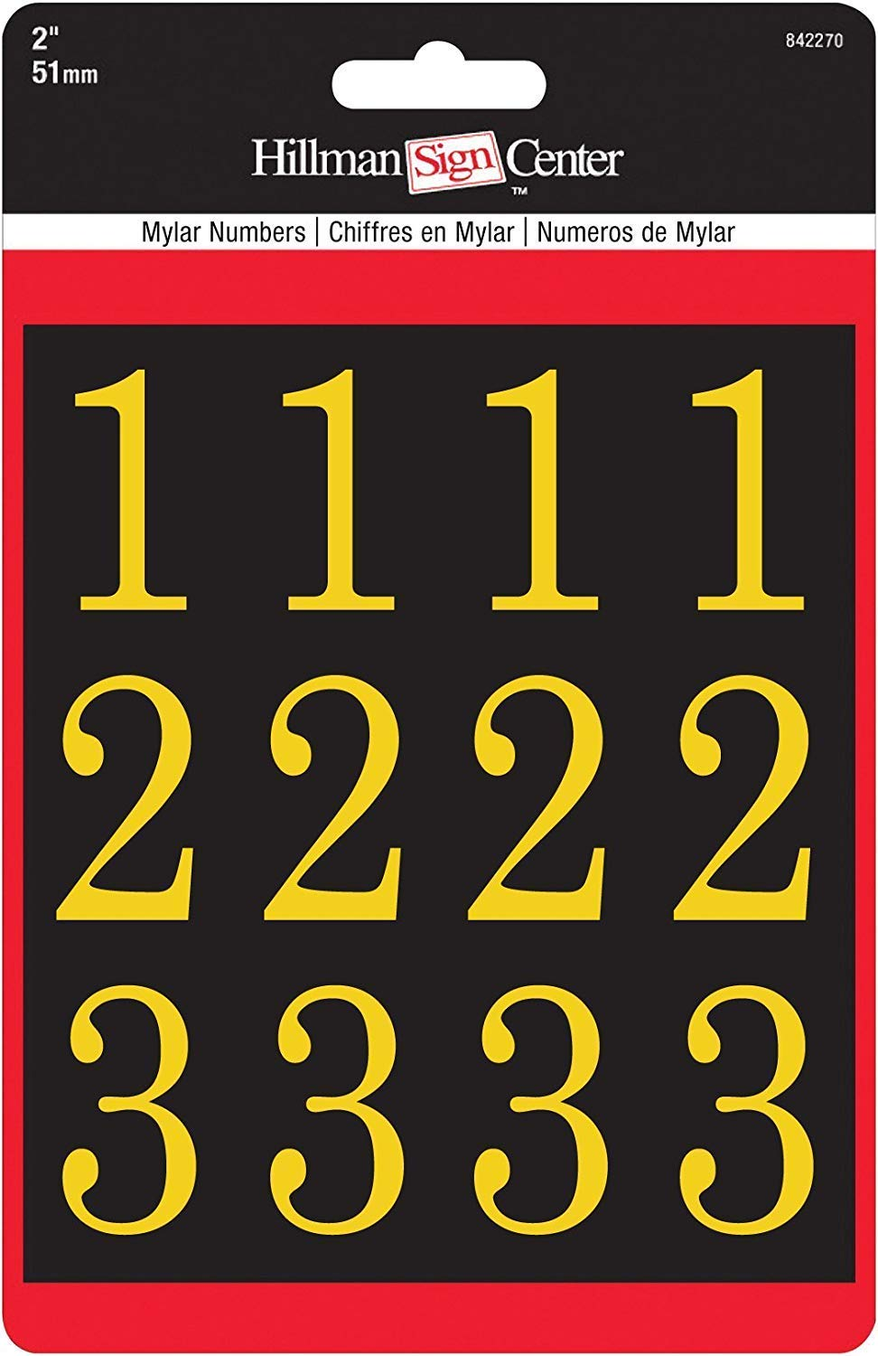 2-Inch Numbers Kit, Gold on Black, Square-Cut Mylar, Self-Adhesive (842270) - Six (6) Packs (Kits)