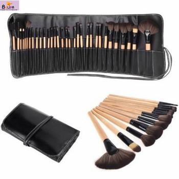 Belifa brand Professional Makeup Brush Set 32pcs complete cosmetic kit big leather bag