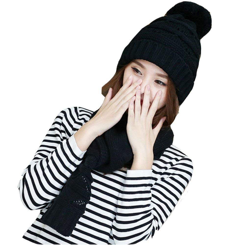 d63f8027cc2 Get Quotations · Black Hat and Scarf for Women