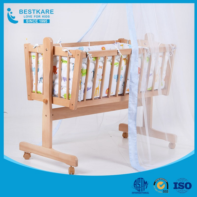 European baby wooden swing bed infant cozy cot bed USA Popular Wooden Baby Crib
