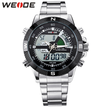 2015 WIEDE Mens Big Screen LCD Backlight Dual Time Date Alarm Stop Analog Digit Multi Function Sports Diver Watch,Free Shipping