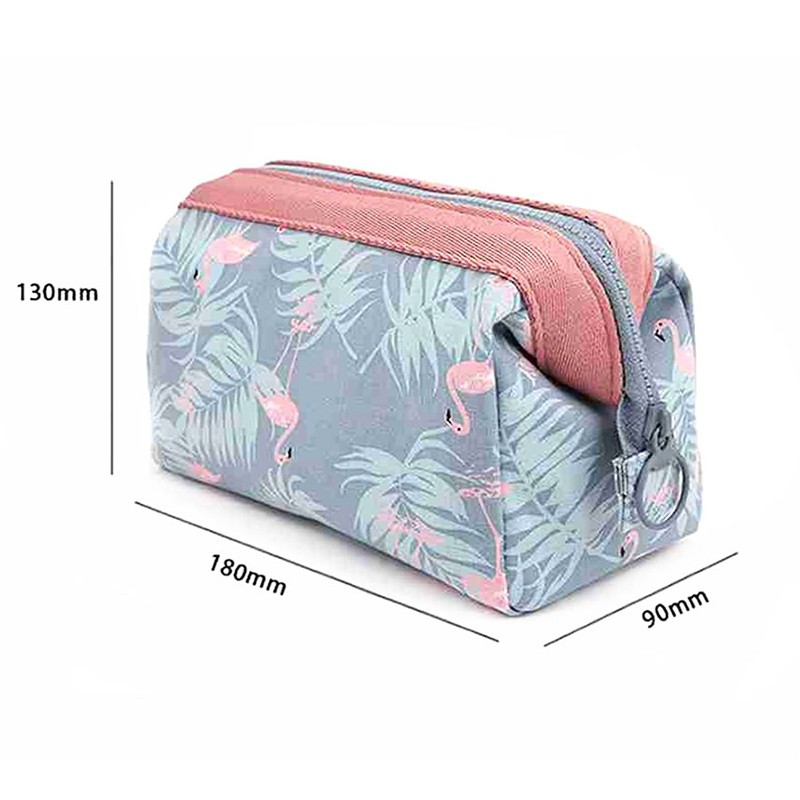 Osgoodway2  Flamingo Waterproof Make up Bag Cotton Canvas Trendy Cosmetic Storage Bag