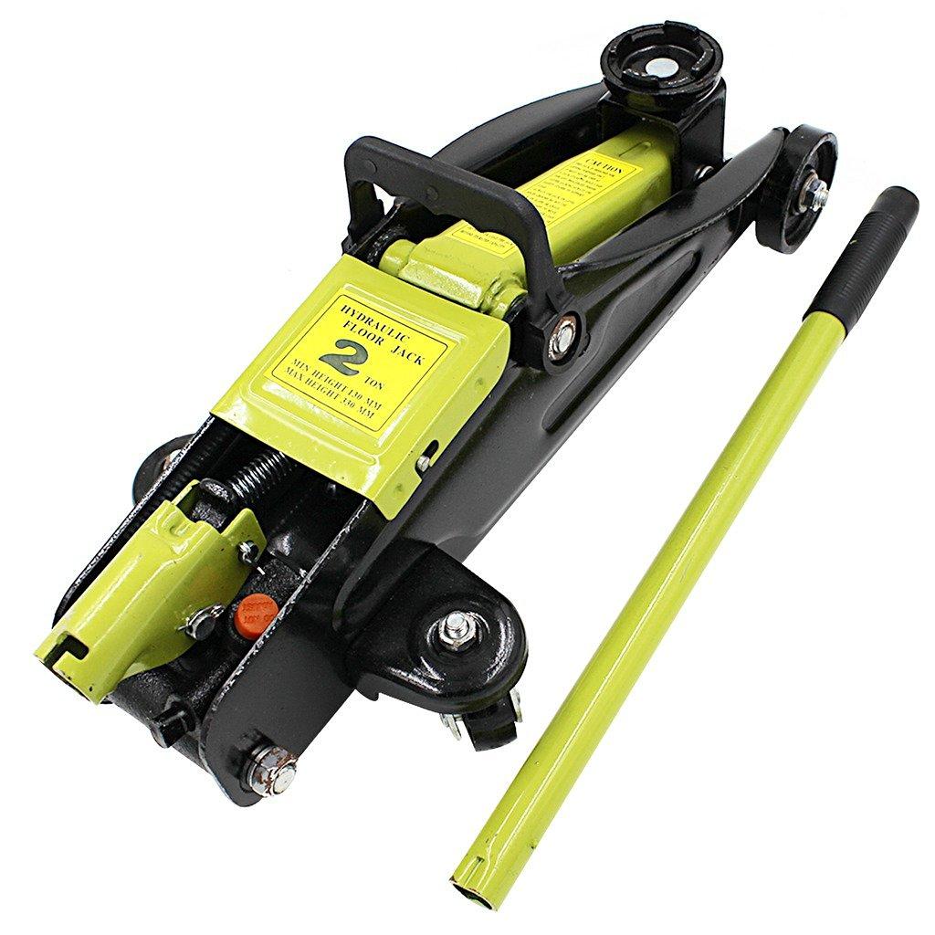 "ZYY 601302 Black Small Mini Steel Heavy Duty Portable Floor Jack, 2 Tons (19 lb 13"" Trolley Car Garage Hydraulic Lift Hoist)"
