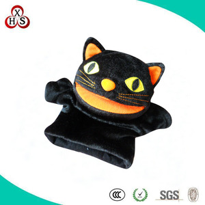 customized black halloween plush hand puppet cat gift toys for children s wholesale