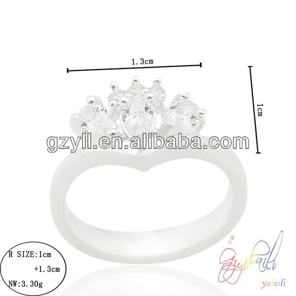 unique design crown heart zircon 925sterling silver jewelry set rhodium plated bridal ring