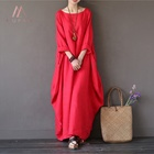 2019 spring summer new women's clothing plus size solid color maxi linen red dress
