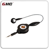 plastic retractable earbuds with mic high quality design and samples offered with customized logo