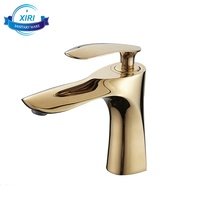 New Design Deck Mounted Brass Golden Basin Cold Hot Water Taps Single Lever Gold Bathroom Faucets Mixers GF234