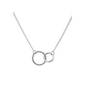 Two ring charm pendant simple jewelry stainless steel necklace