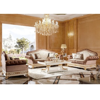 Yb62 Elegant White Gold Living Room Sofa Set Luxury Painted Furniture Imperial