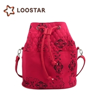 Wholesale Ladies Small Cloth Fabric Sport Printed Drawstring Bags Pull String Bucket Bag Made in China