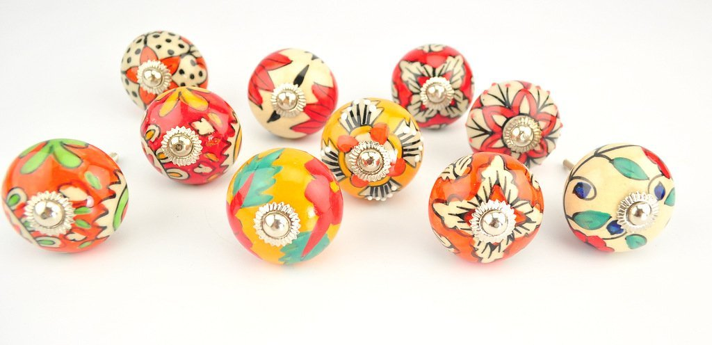 Ornate Red Orange floral Ceramic knobs for cabinets & cupboards - hand painted pulls