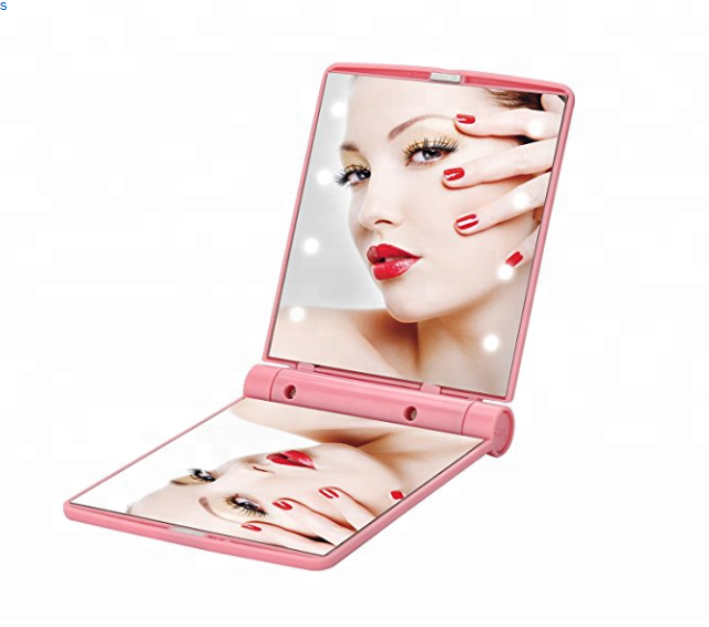 Travel Mini Makeup Mirror with 8 Bright LED Lights Portable Cosmetic Folding Pocket Compact Outdoor Mirror For Man and Woman