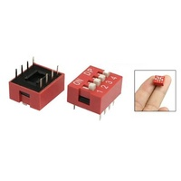 Piano Type Side Dial Dip Switch 2.54mm 4 Position Switch 4p 8pin 4 Way Red Switch Dp-04