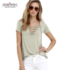 Wholesale Women's Summer Sexy Khaki Deep V Neck Lace Up Cross Short Sleeve Solid T Shirt Women