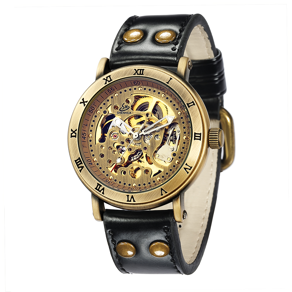 SHENHUA 9584 New Products On China Market Luxury Mens Automatic Mechanical Watch Leather Strap Relojes