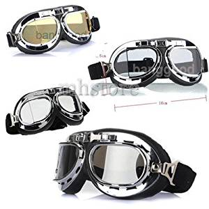 260dd8149347 Get Quotations · Chic Scooter Goggle Glasses T01A Aviator Pilot Ski  Motorcycle Bike ATV Goggle 4 Lens Color 08K