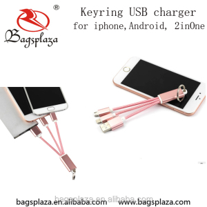China wholesale fashion pink three in one keyrings USB charger for iphone