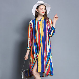 Ink color striped silk dress single atmospheric shirt dress